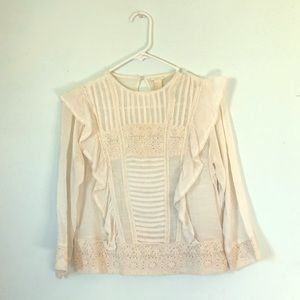 FOREVER 21 White blouse with ruffles Size: Small